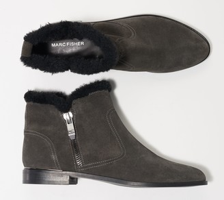 Marc Fisher Faux Fur Trimmed Suede Ankle Boots - Rasil
