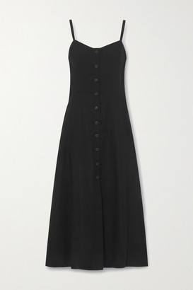 Three Graces London Bonita Linen Midi Dress - Black
