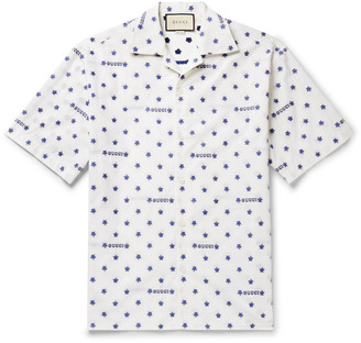 Gucci Camp-Collar Fil Coupe Cotton-Poplin Shirt