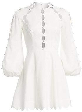 Zimmermann Women's Goldie Scalloped Puff-Sleeve Mini Dress