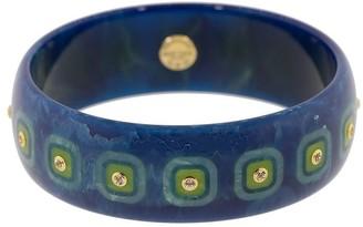 Mark Davis Blue Bakelite, 18kt Yellow Gold And Peridot Bangle