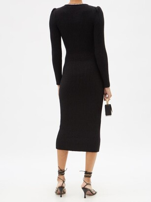 Self-Portrait Rib-knitted Cotton-blend Midi Dress - Black