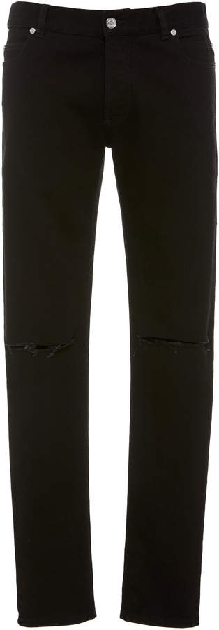 Balmain Ripped Knee Slim-Fit Stretch-Denim Jeans