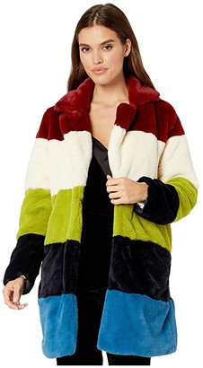 Blank NYC Faux Fur Color Block Coat in Super Nova
