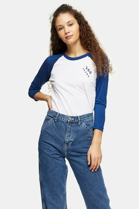 Lee Womens Blue And White Raglan Top By White