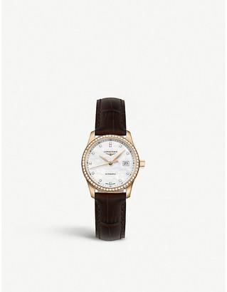 Longines L2.128.9.87.3 Master automatic rose-gold, diamond and alligator watch