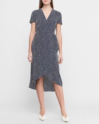 Express Printed Wrap Front Midi Dress