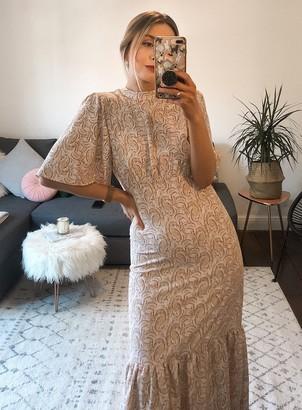 Miss Selfridge Ivory Paisley Angel Sleeve Low Back Midi Dress
