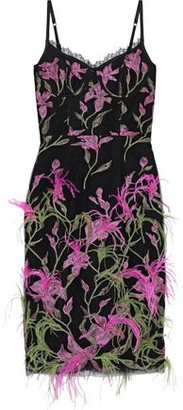 Marchesa Feather-embellished Embroidered Tulle Dress
