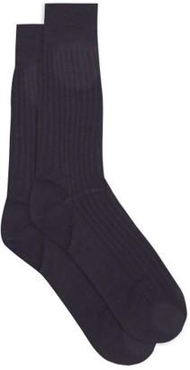 Pantherella Hemingway Ribbed Escorial-wool Blend Socks - Navy