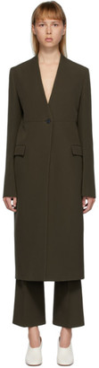 Jil Sander Khaki Wool Marnix Collarless Coat