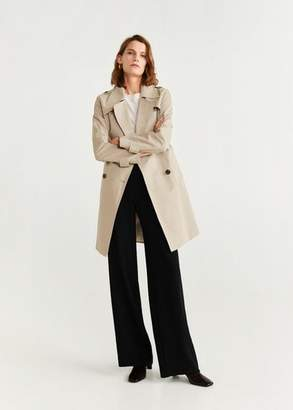 MANGO Double breasted trench light/pastel grey - M - Women