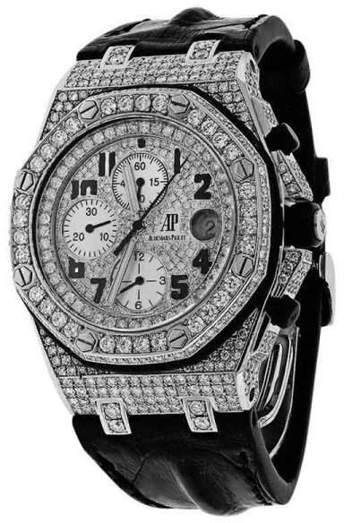 Audemars Piguet Royal Oak Offshore Chronograph Diamonds Watch on Leather Strap Watch