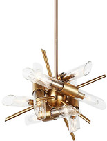 Feiss Quorra 12-Light Chandelier - Brass/Clear