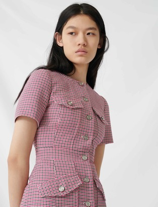 Maje Fitted checked mini dress