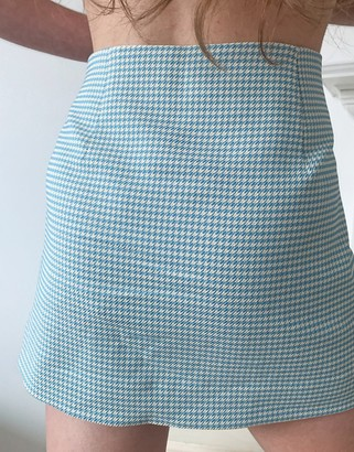 Weekday Jules co-ord mini skirt with splits in blue dogtooth