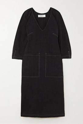 L.F. Markey Mercer Topstitched Linen Midi Dress - Black