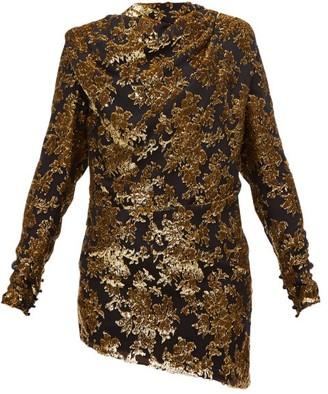 Saint Laurent Tie-back Floral Tinsel-devore Mini Dress - Womens - Black Gold