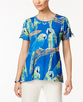 Alfred Dunner Corsica Parrot-Print Beaded Top