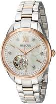 Bulova Women's Automatic Stainless Steel Casual Watch, Color:Two Tone (Model: 98P170)