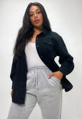 Missguided Plus Size Black Oversized Boyfriend Fit Denim Shirt