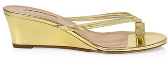 Aquazzura Pedi Metallic Leather Wedge Thong Sandals