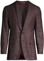 Isaia Plaid Wool, Cashmere, Silk & Linen Single-Breasted Blazer