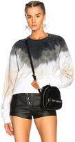 Baja East Cropped French Terry Sweatshirt in Black,Gray,Ombre & Tie Dye,White.