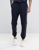 Pull&bear Cuffed Trousers With Check Print In Navy