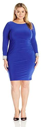Women`s Jersey Short Dress with Cowl Back and Rhinestone Trim