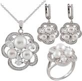Splendid Pearls Silver 7-8Mm Pearl Cz Ring, Earrings, & Necklace Set