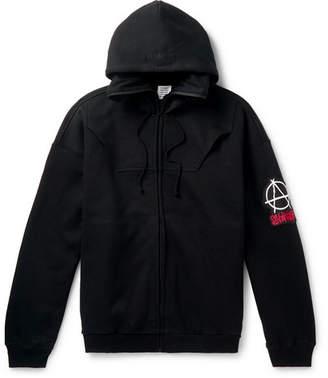 Vetements Logo-Appliqued Fleece-Back Cotton-Jersey Zip-Up Hoodie