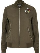 River Island Womens Khaki pin badge bomber jacket