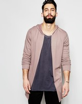 Asos Super Longline Hooded Cardigan In Dusky Pink