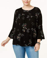 Eyeshadow Trendy Plus Size Printed Illusion Blouse