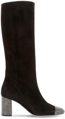 Rene Caovilla 75mm Suede & Swarovski Tall Boots