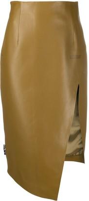 Off-White Leather Asymmetric Pencil Skirt