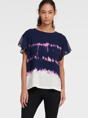 DKNY Women's Tie Dye Top With Flutter Sleeve - Ink Amethyst Ivory Multi - Size XS
