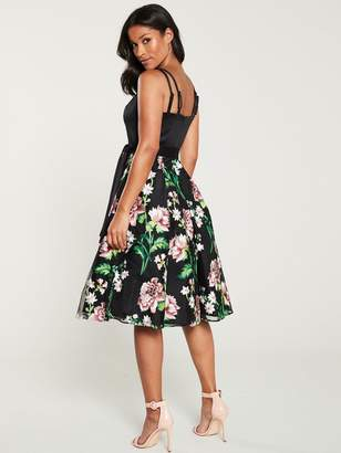 Very Embroidered Prom Dress - Black/Floral