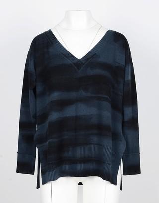 Lamberto Losani Green Wool, Silk and Cashmere Women's V-Neck Sweater