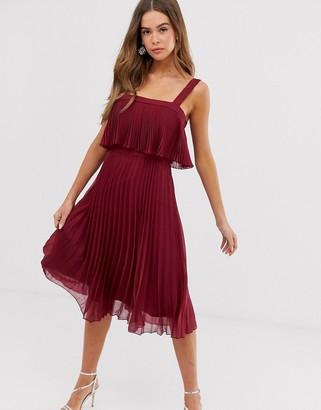 Asos Design DESIGN double layer pleated cami midi dress