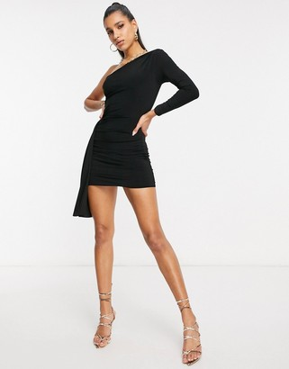Club L London one shoulder mini dress with asymmetric ruffle detail in black