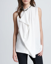 3.1 Phillip Lim Asymmetric Draped Beaded Silk Tank, White