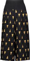 Sea Leo cropped printed silk wide-leg pants