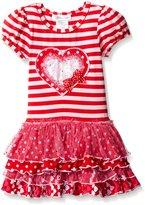 Bonnie Jean Little Girls' Toddler Sequin Heart Dropwaist Tie Dress