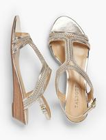 Talbots Capri Braided T-Strap Wedges-Metallic Leather