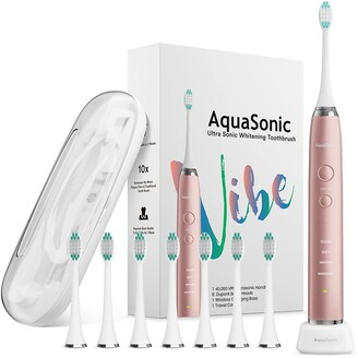 Aquasonic VIBE Series Pink UltraSonic Whitening Toothbrush with 8 DuPont Brush Heads & Travel Case