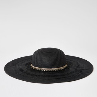 River Island Womens Black trim floppy straw hat