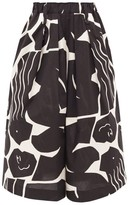 Issey Miyake Abstract-print Cotton-blend Wide-leg Trousers - Womens - Black Multi
