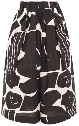 Issey Miyake Abstract-print Cotton-blend Wide-leg Trousers - Black Multi